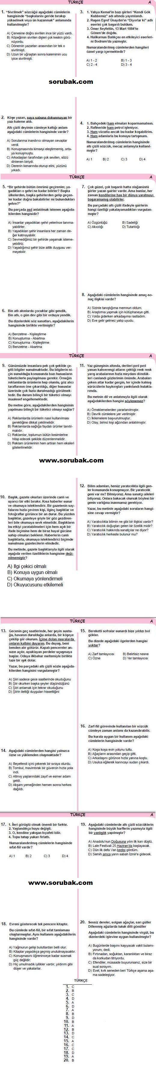 2013-2014 8.sınıf  türkçe 1.dönem meb sınav soruları