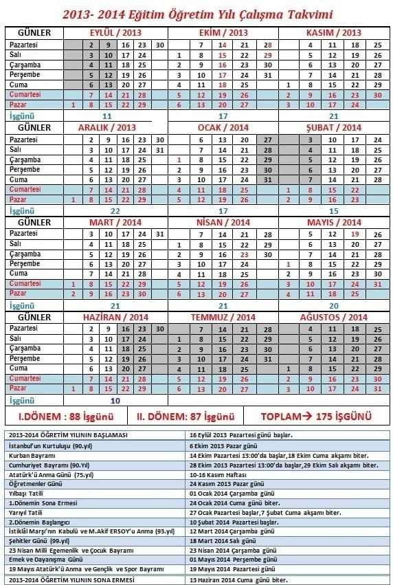 2013-2014 Okulların yarıyıl tatili