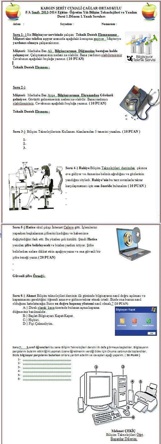 2013 2014 5 sınıf bilişim teknolojileri ve yazılım 1 dönem 1