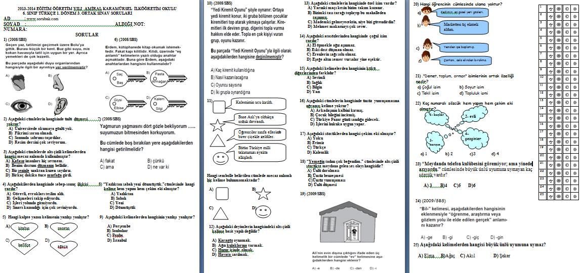 Sınıf türkçe 1 dönem 3 yazılı soruları 2013 2014