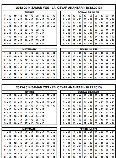 zaman ygs-7 deneme cevapları