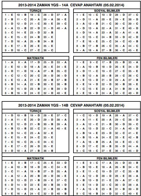zaman 5 şubay ygs-14 cevap anahtarı