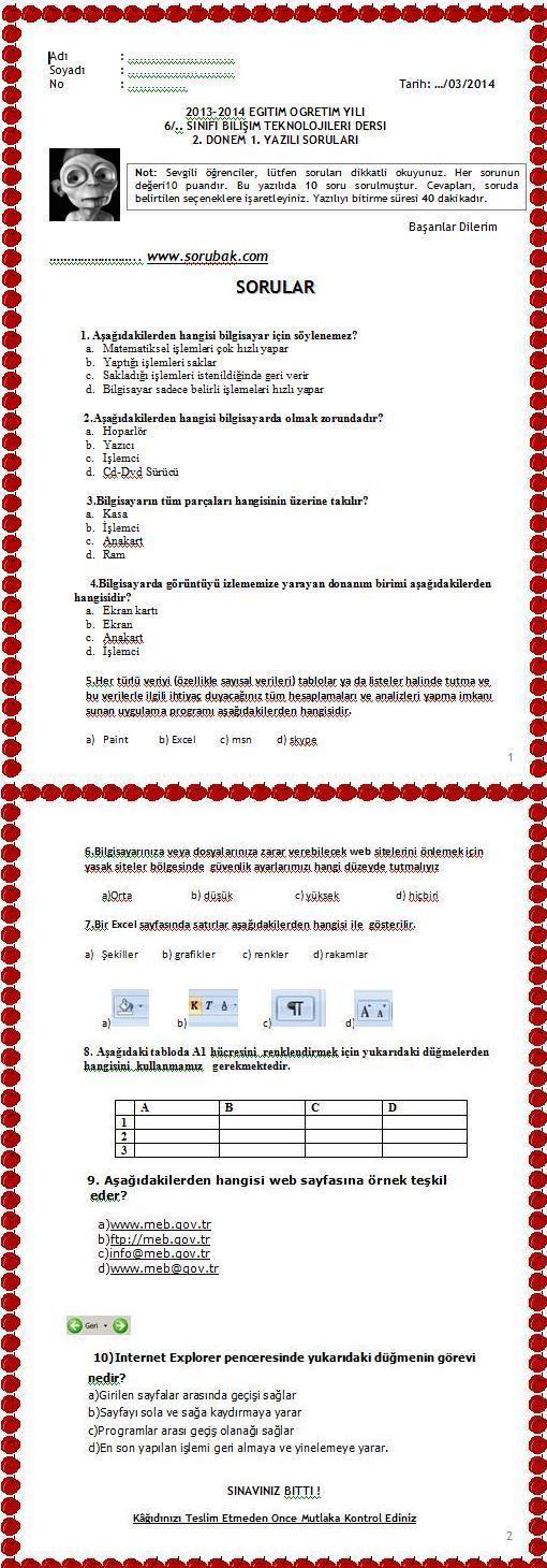 6.sınıf bilişim teknolojileri 2.dönem 1.yazılı soruları