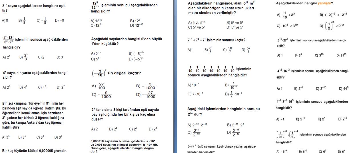 test okul 9 sınıf matematik pdf indir