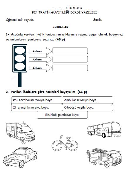 4sınıf Trafik Güvenliği 2dönem 1bep Yazılısı 2015 2016
