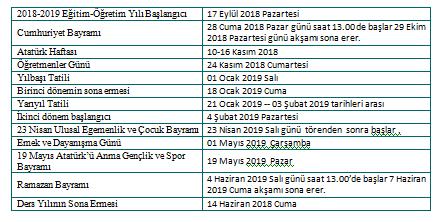 2018 2019 çalışma Takvimi