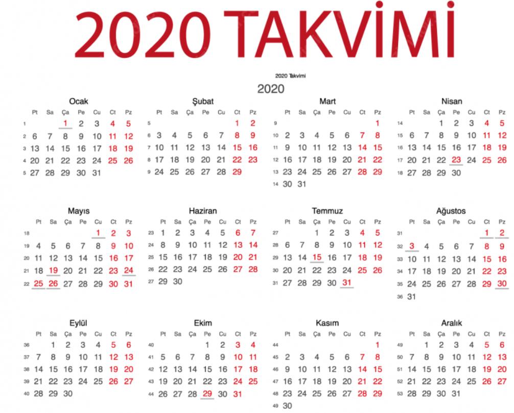 Gün Gün 2020 Yılı Resmi Tatiller Listesi
