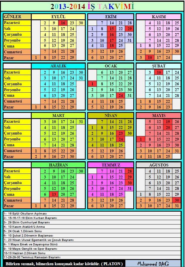 2013-2014 MEB İş Günü Takvimi