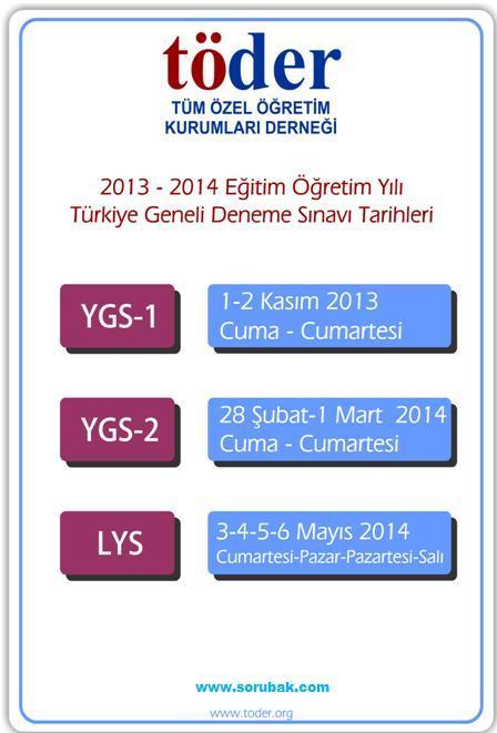 2013-2014 T�DER YGS ve LYS s�nav tarihleri